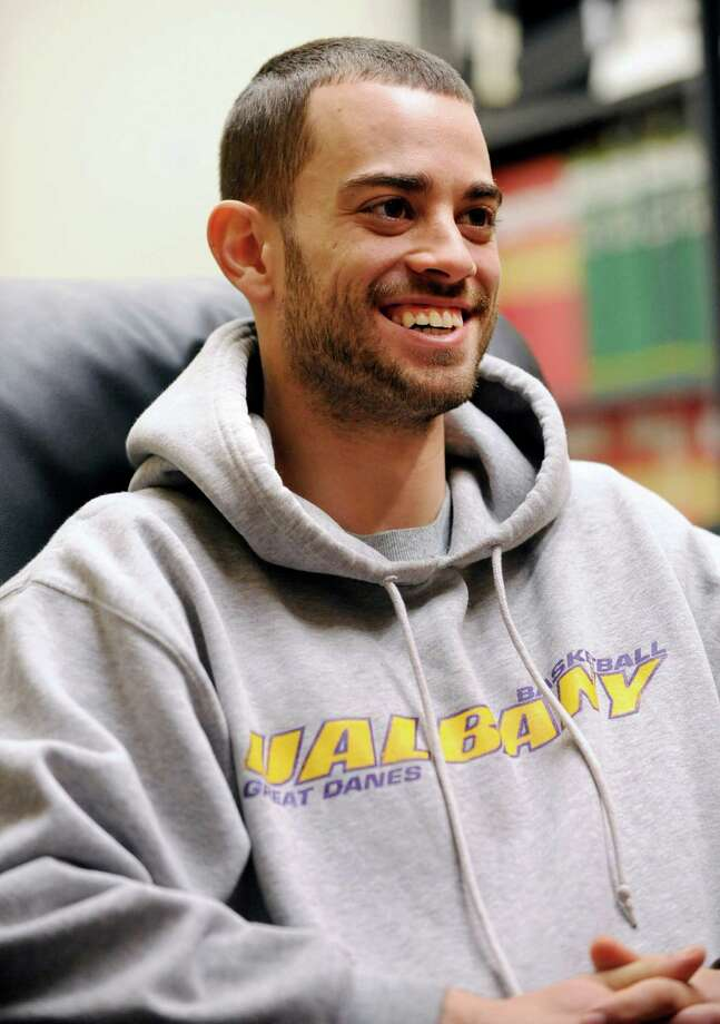 UAlbany basketball player Jacob Iati is interviewed by Tim Wilkin at UAlbany on Wednesday, April 3, 2013 in Albany, N.Y. (Lori Van Buren / Times Union) Photo: Lori Van Buren