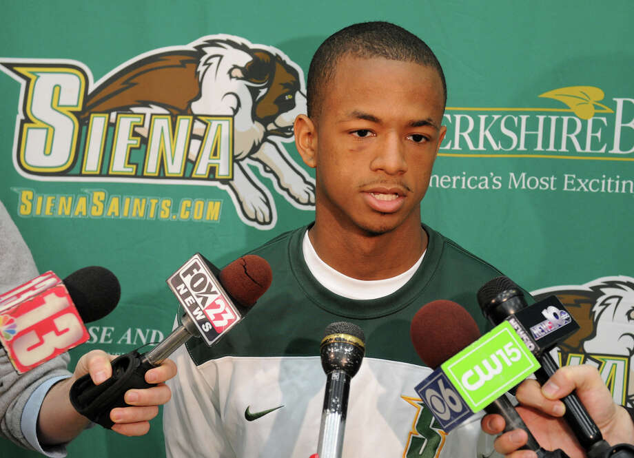 Siena basketball player Evan Hymes talks to the press during media day for the Siena basketball team Friday, Oct. 12, 2012 in Loudonville, N.Y.  (Lori Van Buren / Times Union) Photo: Lori Van Buren / 00019627A