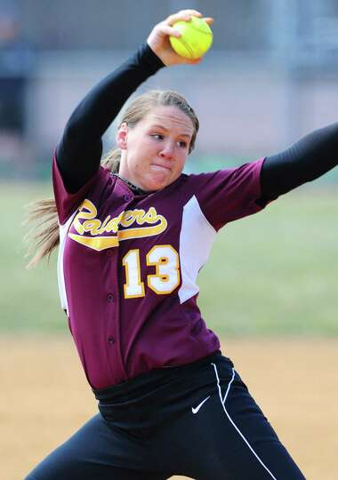 Colonie softball sensation Kelly Lane in action against pitching Averill Park Friday lunchtime, Apri