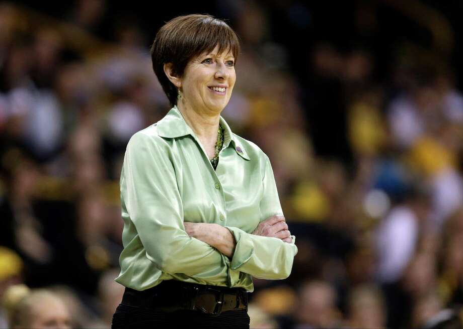 FILE - In this March 26, 2013, file photo, Notre Dame head coach Muffet McGraw looks on during the second half of a second-round game against Iowa in the women's NCAA college basketball tournament in Iowa City, Iowa. McGraw was selected as The Associated Press' women's basketball coach of the year on Saturday, April 6, 2013. (AP Photo/Charlie Neibergall, File) Photo: Charlie Neibergall