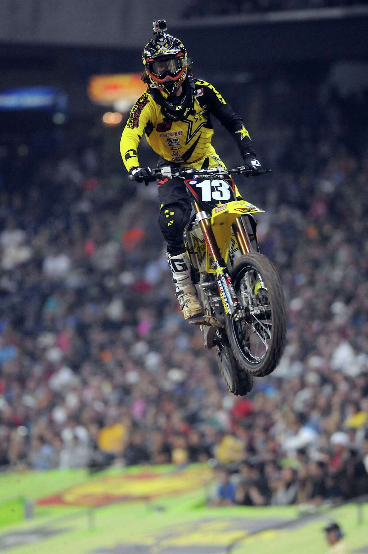 Blake Wharton, who was born in Houston, rides to victory in the 250SX championship at Reliant Stadium to give him his first win of the season.