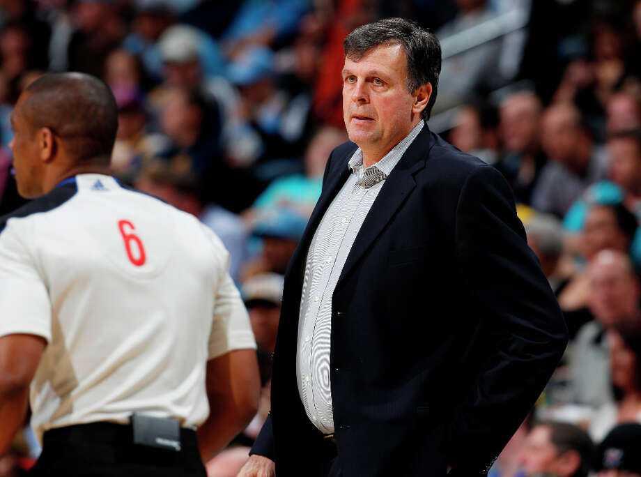 Rockets coach Kevin McHale watches his team play the Nuggets during the first quarter. Photo: David Zalubowski