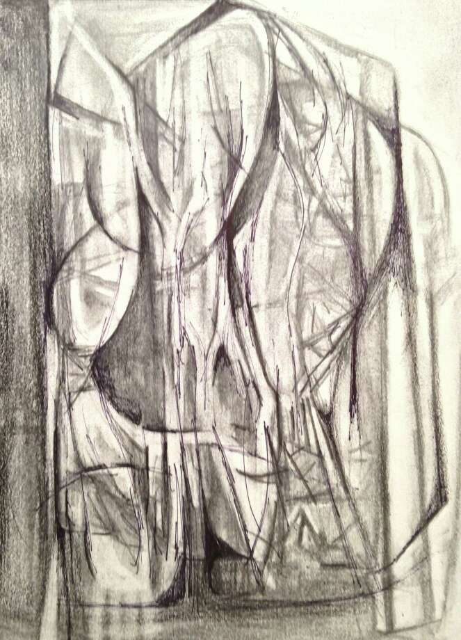 """""""Construction,"""" a charcoal and graphite drawing by Cate Leach of Darien, will be part of """"The Drawing Show"""" at Art/Place in Fairfield through May 4. Photo: Contributed"""