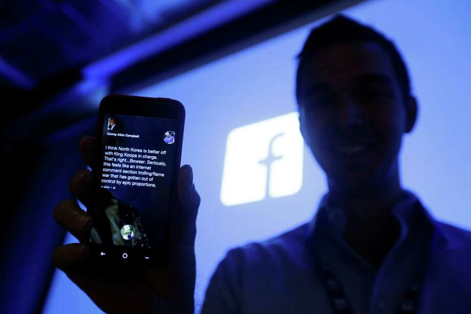 An HTC First phone with the new Facebook interface is displayed at the company's headquarters in Menlo Park, Calif., Thursday, April 4, 2013. Photo: AP