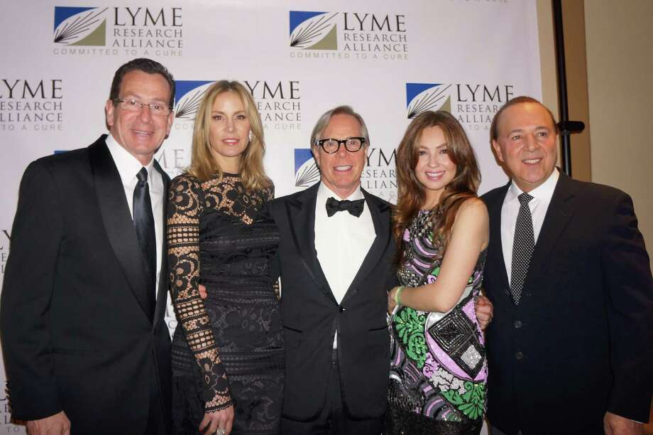 CT Governor Dannel P. Malloy, Dee Ocleppo, Tommy Hilfiger, Thalia & Tommy Mottola at the Time For Lyme Gala in Greenwich Saturday night? 4/6/2013 Photo: Todd Tracy/ Hearst Connecticut Media Group