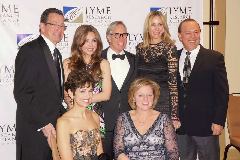 CT Governor Dannel P. Malloy, Thalia Mottola, Tommy Hilfiger, Dee Ocleppo, Tommy Mottola, Diane Blanchard, Debbie Siciliano at the Time For Lyme Gala in Greenwich Saturday night? 4/6/2013 Photo: Todd Tracy/ Hearst Connecticut Media Group