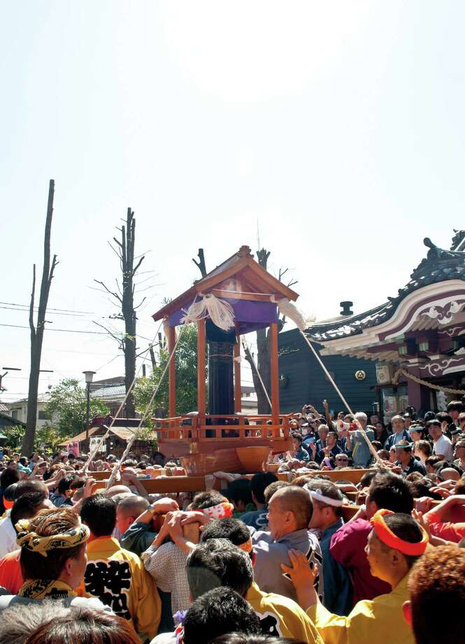 Large phallic-shaped 'Mikoshi' returns back to the shrine after the parade at Kanamara Matsuri (Festival of the Steel Phallus) on April 7, 2013 in Kawasaki, Japan. The festival is held annually on the first Sunday of April and it is centered around a local penis-venerating shrine once popular among prostitutes who wished to pray for protection from sexually transmitted diseases. The festival is now a popular tourist attraction. Photo: Keith Tsuji, Getty / 2013 Getty Images