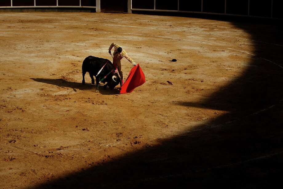 Spain's bullfighter Alejandro Talavante performs with a Garcigrande ranch fighting bull during a bullfight at La Muralla bullring in Brihuega, Spain, Saturday, April 6, 2013. Bullfighting is an ancient tradition in Spain and the season runs from March to October. Photo: AP