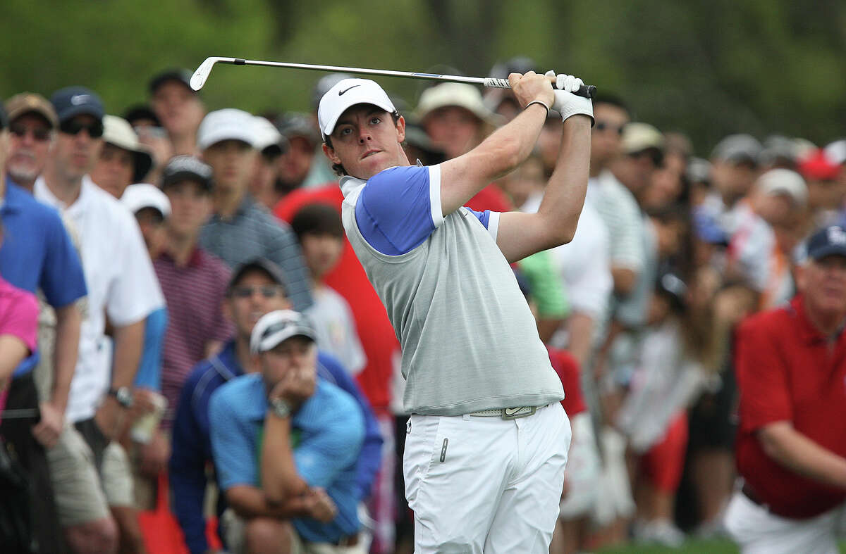 Rory McIlroy draws a large gallery during the final round of the 2013 Valero Texas Open, Sunday, April 7, 2013.