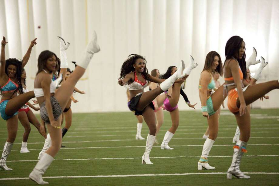 The Houston Texans hold cheerleader tryouts April 7, 2013 in Houston.