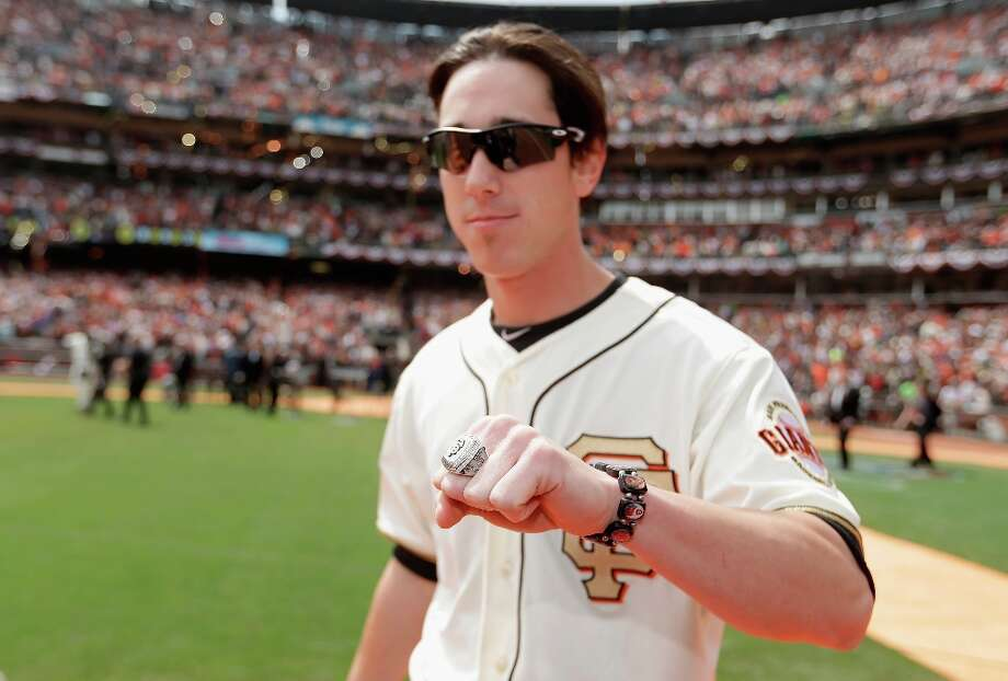Tim Lincecum #55 of the San Francisco Giants shows off his 2012 Championship ring before their game against the St. Louis Cardinals at AT&T Park on April 7, 2013 in San Francisco, California.  The Giants were given their Championship rings during a ceremony honoring the 2012 World Series champions before the start of their game. Photo: Ezra Shaw, Getty Images / 2013 Getty Images