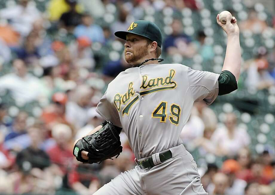Oakland Athletics' Brett Anderson delivers a pitch against the Houston Astros in the first inning of a baseball game Sunday, April 7, 2013, in Houston. (AP Photo/Pat Sullivan) Photo: Pat Sullivan, Associated Press