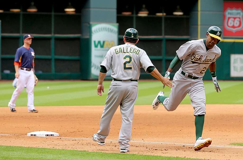 HOUSTON, TX - APRIL 07: Chris Young #25 of the Oakland Athletics rounds the bases after hitting a three run home run in the fifth inning against the Houston Astros at Minute Maid Park on April 7, 2013 in Houston, Texas.  (Photo by Thomas B. Shea/Getty Images) Photo: Thomas B. Shea, Getty Images