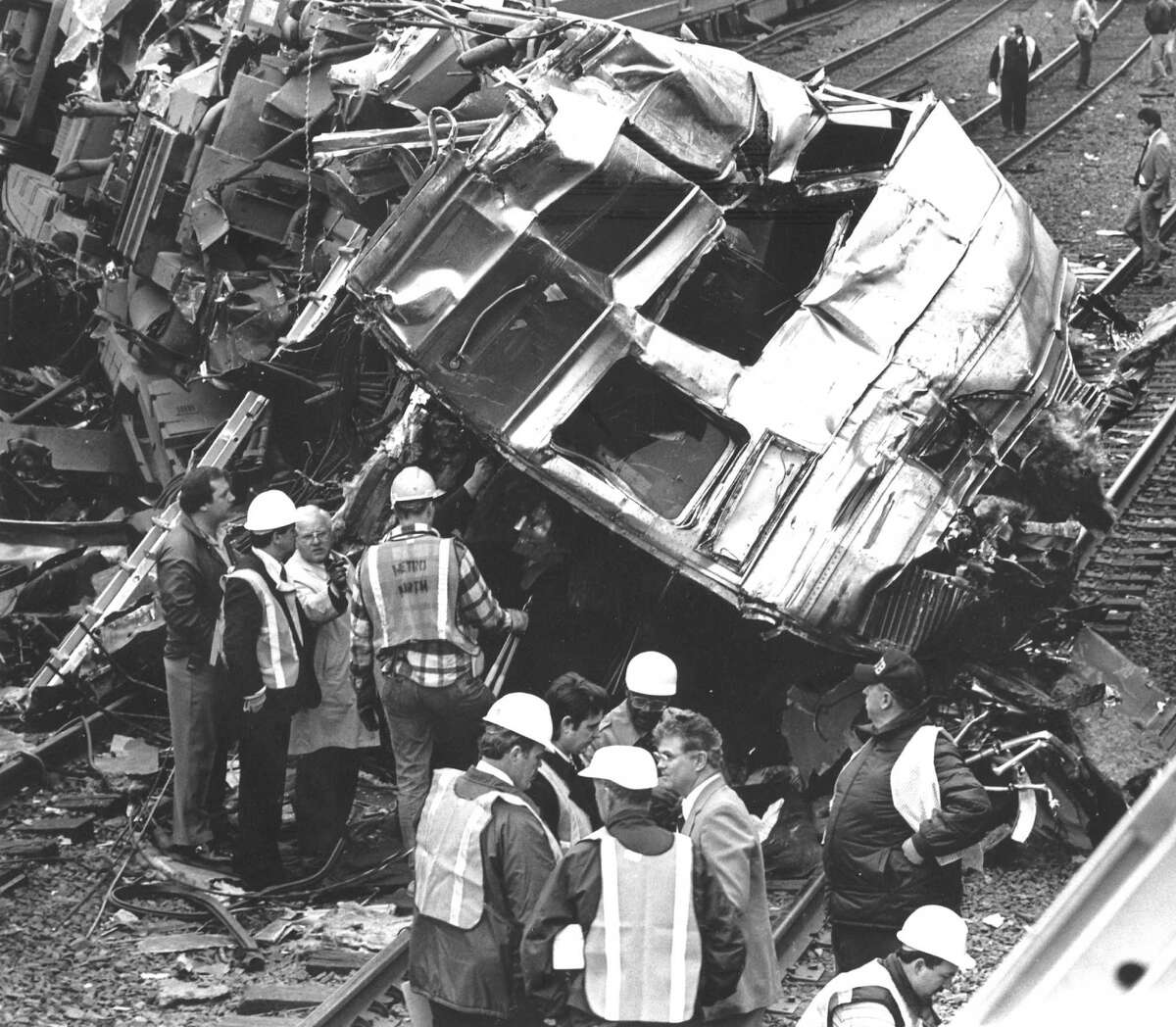 A rail engineer from Stamford, Raymond Hunter, 42, died when his train collided with a stopped train in Mount Vernon, N.Y. in April, 1988. Neither train was carrying passengers.