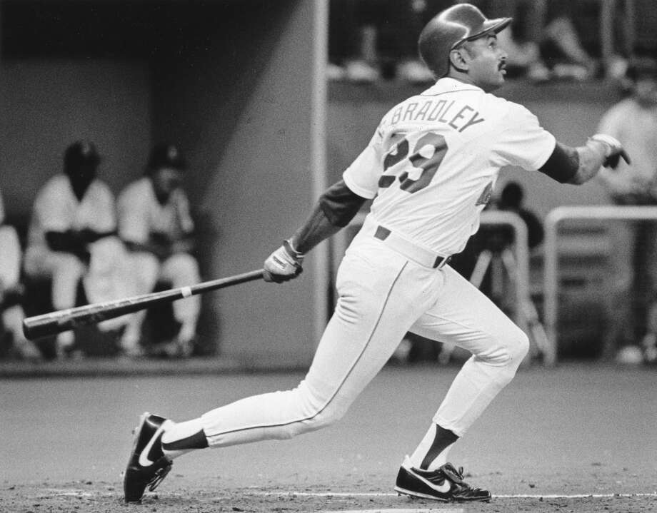 April 10, 1987 -- Minnesota Twins 8, Mariners 1 38,122 attendance, fourth game of the season.  M's pitcher Mike Morgan gave up eight runs on 11 hits, including three home runs, and Seattle's offense couldn't get much going.   Photo: M's Phil Bradley is seen on June 4, 1987. Photo: Bill Hunter, Seattle P-I Archives