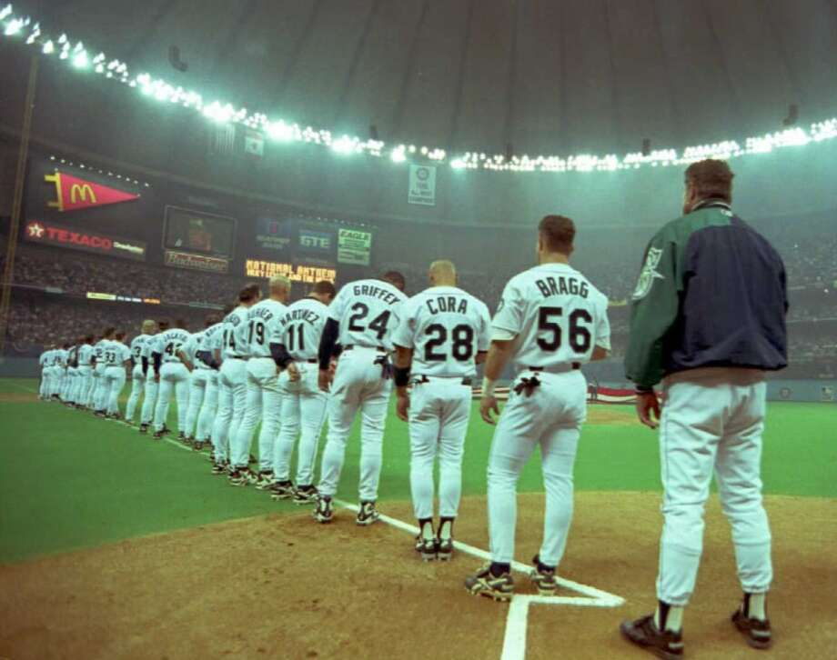March 31, 1996 -- Mariners 3, Chicago White Sox 2 (12 innings) 57,467 attendance, also the season opener.It was a packed house at the Kingdome after the M's magical '95 season, and fans got their money's worth when the game went 12 innings. M's DH Edgar Martinez tied it up in the bottom of the ninth with a double, sending the game to extra frames, and shortstop Alex Rodriguez hit a game-winning single in the bottom of the 12th, scoring Doug Strange from third.Photo: The Mariners line up for the national anthem before their 1996 opener against the White Sox in the Kingdome. Photo: Dan Levine, AFP / Getty Images