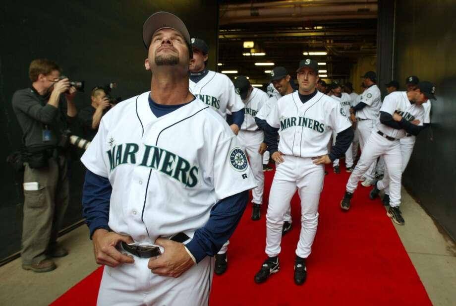 April 8, 2003 -- Mariners 5, Anaheim Angels 0 45,931 attendance, seventh game of the season.M's pitchers Jamie Moyer (who had seven strikeouts), Jeff Nelson and Arthur Rhodes combined for the shutout, and first baseman John Olerud went 2-for-3 with two RBI in the lopsided victory.Photo: Mariners veteran Edgar Martinez takes in the smells and sounds of Opening Day while waiting to be introduced to the crowd prior to their game against the Anaheim Angels at Safeco Field on April 8, 2003. Photo: Mike Urban, Seattle P-I Archives