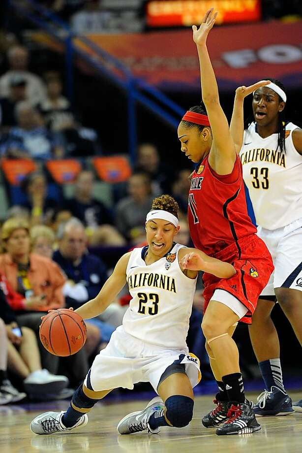 NEW ORLEANS, LA - APRIL 07: Layisha Clarendon #23 of the California Golden Bears falls in front of Bria Smith #21 of the Louisville Cardinals during the National Semifinal game of the 2013 NCAA Division I Women's Basketball Championship at New Orleans Arena on April 7, 2013 in New Orleans, Louisiana. (Photo by Stacy Revere/Getty Images) Photo: Stacy Revere, Getty Images