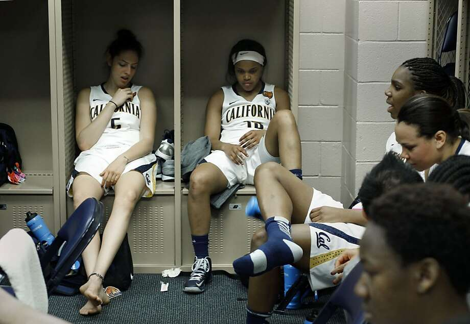 Cal teammates, Avigiel Cohen, (left) and Brittany Boyd inside the locker room after the game, as the Cal Berkeley women's basketball team fell to the Louisville Cardinals in the national semi-final game 64-57  in the NCAA Final Four Basketball Tournament in New Orleans, La. on Sunday April 7, 2013. Photo: Michael Macor, The Chronicle
