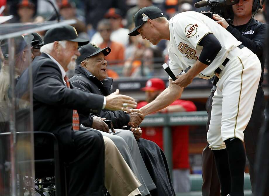 Hunter Pence (right) stopped to talk with Willie Mays after receiving his ring.  Giant great Gaylord Perry is at left. The San Francisco Giants vs the Saint Louis Cardinals Sunday April 7, 2013 at AT&T park. Photo: Brant Ward, The Chronicle