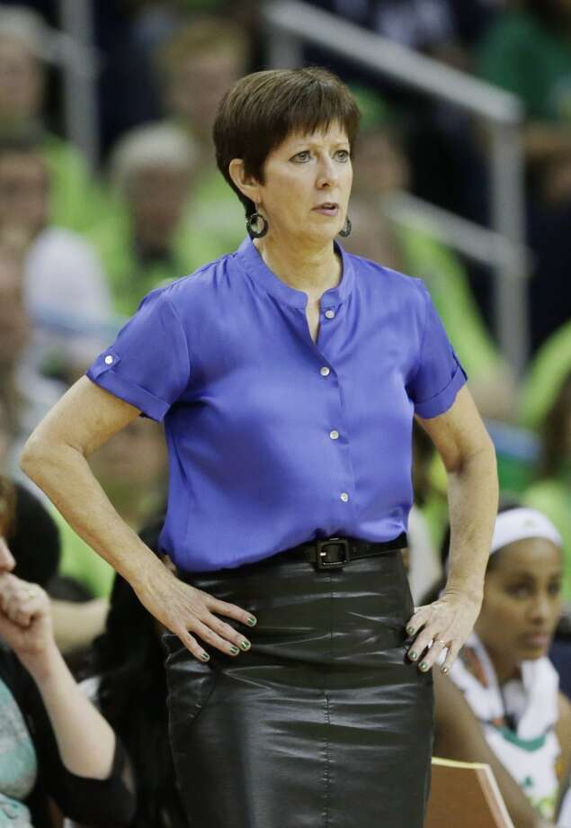 Notre Dame head coach Muffet McGraw watches action against Notre Dame in the first half of the women's NCAA Final Four college basketball tournament semifinal against Connecticut, Sunday, April 7, 2013, in New Orleans. (AP Photo/Dave Martin)