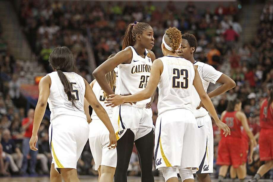 Cal players with time running out late in the game, California's Avigiel Cohen,(5), Gennifer Brandon,(25), Layshia Clarendon,(23) and Afure Jemerigbe,(2) gather during a time out, as the Cal Berkeley women's basketball team went on to lose to the Louisville Cardinals in the national semi-final game 64-57  in the NCAA Final Four Basketball Tournament in New Orleans, La. on Sunday April 7, 2013. Photo: Michael Macor, The Chronicle