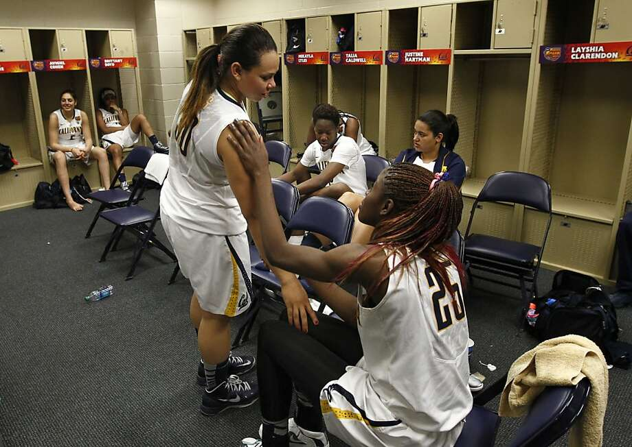 California's Mikayla Lyles, (30) Gennifer Brandon,(25) inside the locker room after the game as the Cal Berkeley women's basketball team lost to the Louisville Cardinals in the national semi-final game 64-57  in the NCAA Final Four Basketball Tournament in New Orleans, La. on Sunday April 7, 2013. Photo: Michael Macor, The Chronicle