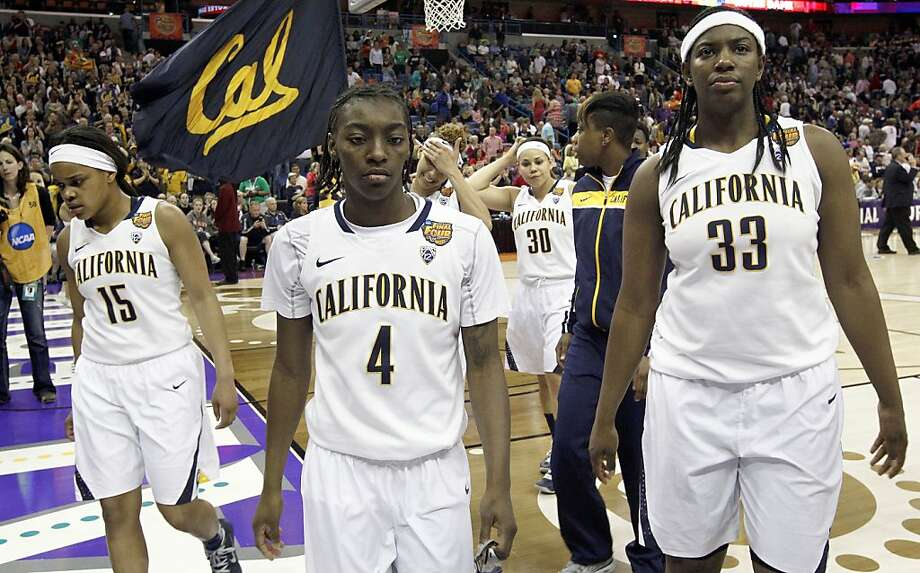 PLayers California's Brittany Boyd,(15),  Eliza Pierre,(4) Talia Caldwell,(33) leave the court after the loss as the Cal Berkeley women's basketball team fell to the Louisville Cardinals in the national semi-final game 64-57  in the NCAA Final Four Basketball Tournament in New Orleans, La. on Sunday April 7, 2013. Photo: Michael Macor, The Chronicle