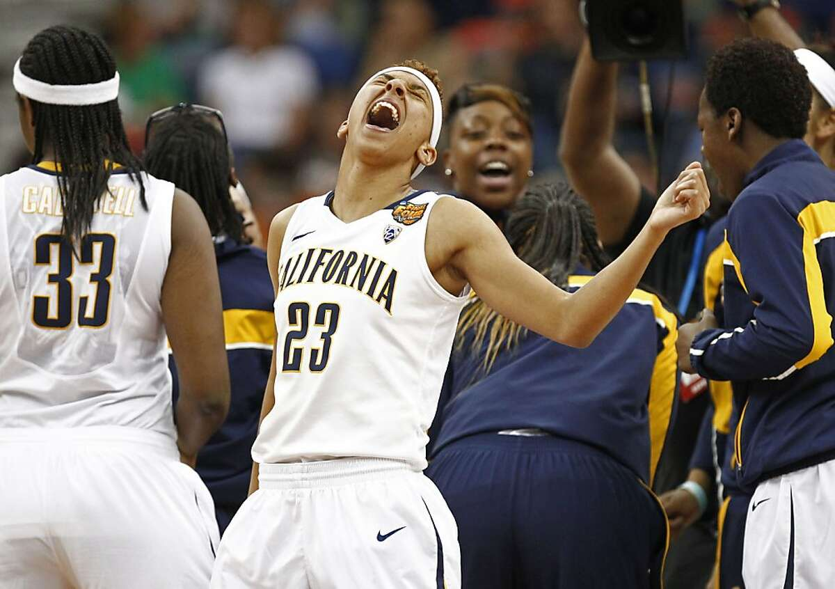 California's Layshia Clarendon,(23) gets fired up before the start of the game as the Cal Berkeley women's basketball team takes on the Louisville Cardinals in the national semi-final match up in the NCAA Final Four Basketball Tournament in New Orleans, La. on Sunday April 7, 2013.