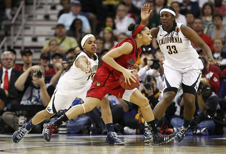 California's Brittany Boyd,(15) and Talia Caldwell,(33) chase Louisville's Bria Smith,(21) during gthe second half as the Cal Berkeley women's basketball team went on to lose to the Louisville Cardinals in the national semi-final game 64-57  in the NCAA Final Four Basketball Tournament in New Orleans, La. on Sunday April 7, 2013. Photo: Michael Macor, The Chronicle