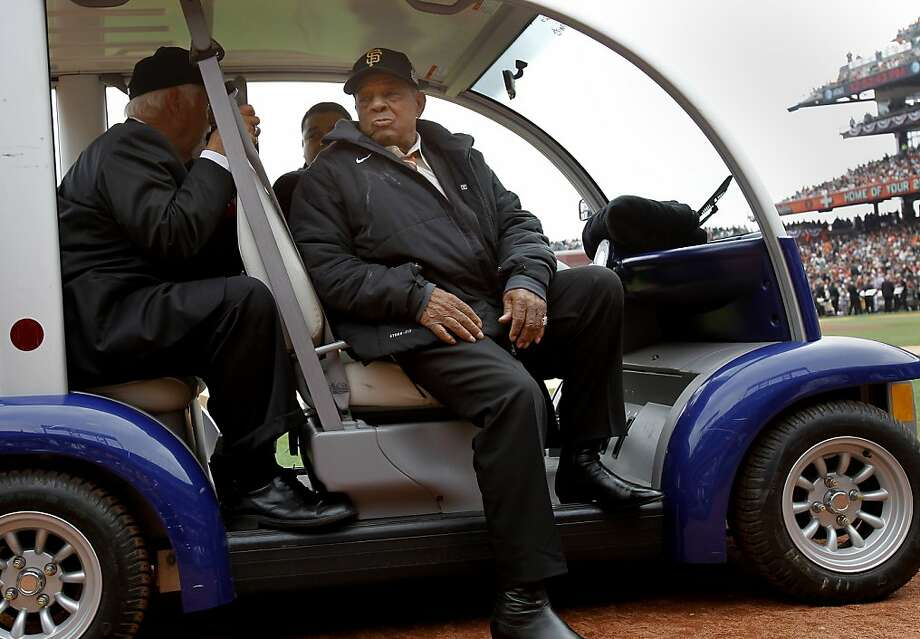 Before the ring ceremony, Giant great Willie Mays waited for the event to begin. The San Francisco Giants vs the Saint Louis Cardinals Sunday April 7, 2013 at AT&T park. Photo: Brant Ward, The Chronicle