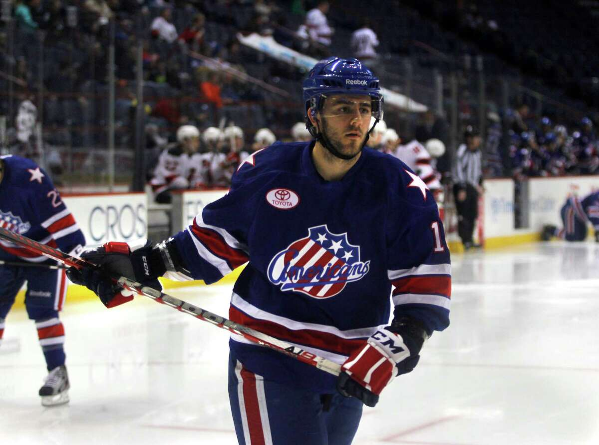 Former RPI player Nick Bailen (16) of the Rochester Americans, warms up on the ice during the game against the Albany Devils, Sunday, April 7, 2012 at the Times Union Center in Albany, N.Y. (Dan Little/ Special to the Times Union)