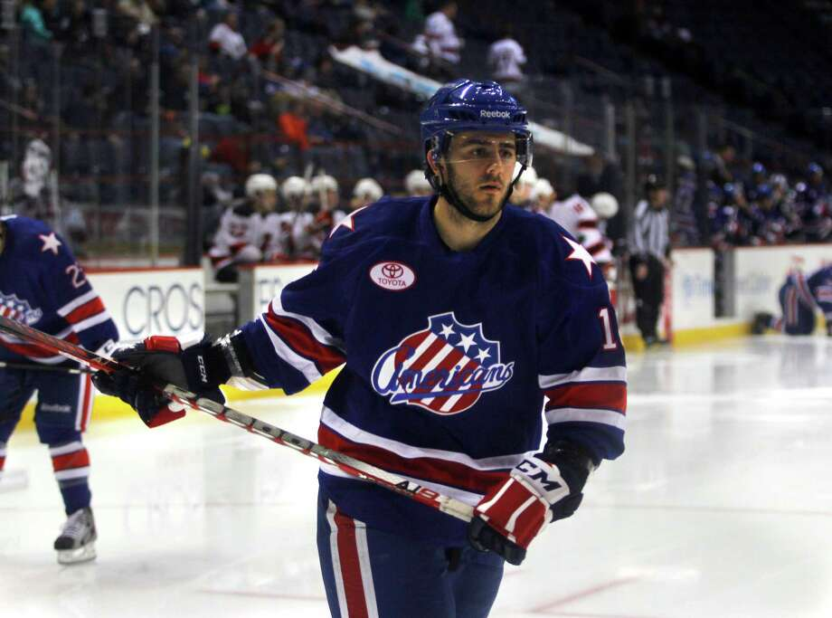 Former RPI player Nick Bailen (16) of the Rochester Americans, warms up on the ice during the game against the Albany Devils, Sunday, April 7, 2012 at the Times Union Center in Albany, N.Y. (Dan Little/ Special to the Times Union) Photo: Dan Little / Dan Little