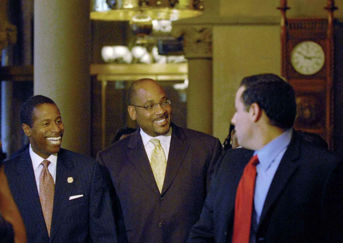 Democratic Senate leaders Malcolm Smith and John Sampson walk to the Senate special session at the Capitol in Albany, New York 7/03/2009 ( Michael P. Farrell / Times Union )