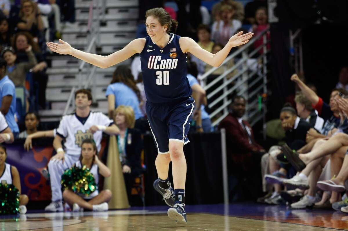 NEW ORLEANS, LA - APRIL 07: Breanna Stewart #30 of the Connecticut Huskies reacts to a three point shot against the Notre Dame Fighting Irish during the National Semifinal game of the 2013 NCAA Division I Women's Basketball Championship at the New Orleans Arena on April 7, 2013 in New Orleans, Louisiana. (Photo by Chris Graythen/Getty Images)