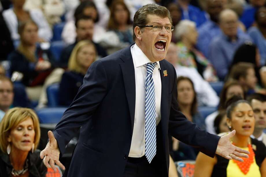 NEW ORLEANS, LA - APRIL 07:  Head coach Geno Auriemma of the Connecticut Huskies reacts during the game against the Notre Dame Fighting Irish during the National Semifinal game of the 2013 NCAA Division I Women's Basketball Championship at the New Orleans Arena on April 7, 2013 in New Orleans, Louisiana.  (Photo by Chris Graythen/Getty Images)