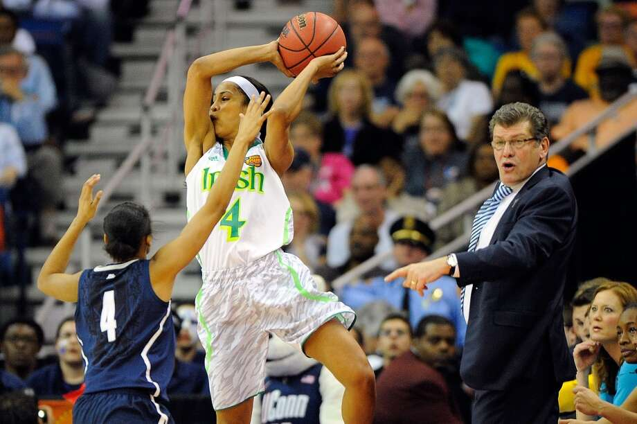 NEW ORLEANS, LA - APRIL 07: Skylar Diggins #4 of the Notre Dame Fighting Irish is defended by Moriah Jefferson #4 of the Connecticut Huskies during the National Semifinal game of the 2013 NCAA Division I Women's Basketball Championship at New Orleans Arena on April 7, 2013 in New Orleans, Louisiana. (Photo by Stacy Revere/Getty Images)
