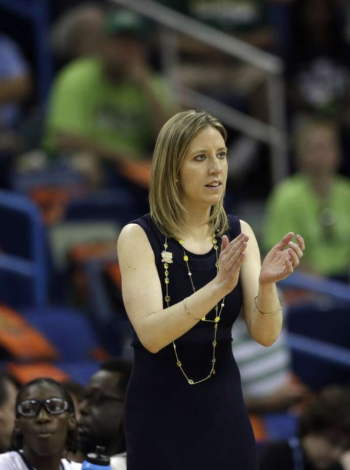 California head coach Lindsay Gottlieb reacts to players in the first half of the women's NCAA Final Four college basketball tournament semifinal game against Louisville, Sunday, April 7, 2013, in New Orleans. (AP Photo/Dave Martin)