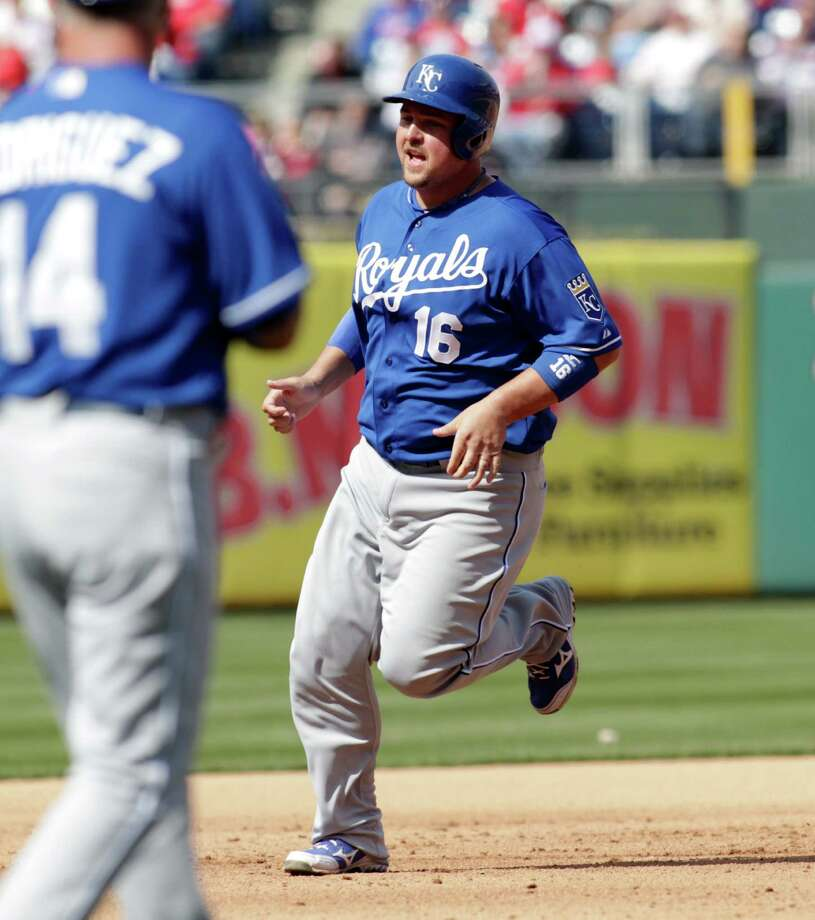 Kansas City Royals' Billy Butler (16) runs the bases after hitting a grand slam against the Philadelphia Phillies in the fifth inning of a baseball game on Sunday, April 7, 2013, in Philadelphia. (AP Photo/H. Rumph Jr) Photo: H. Rumph Jr