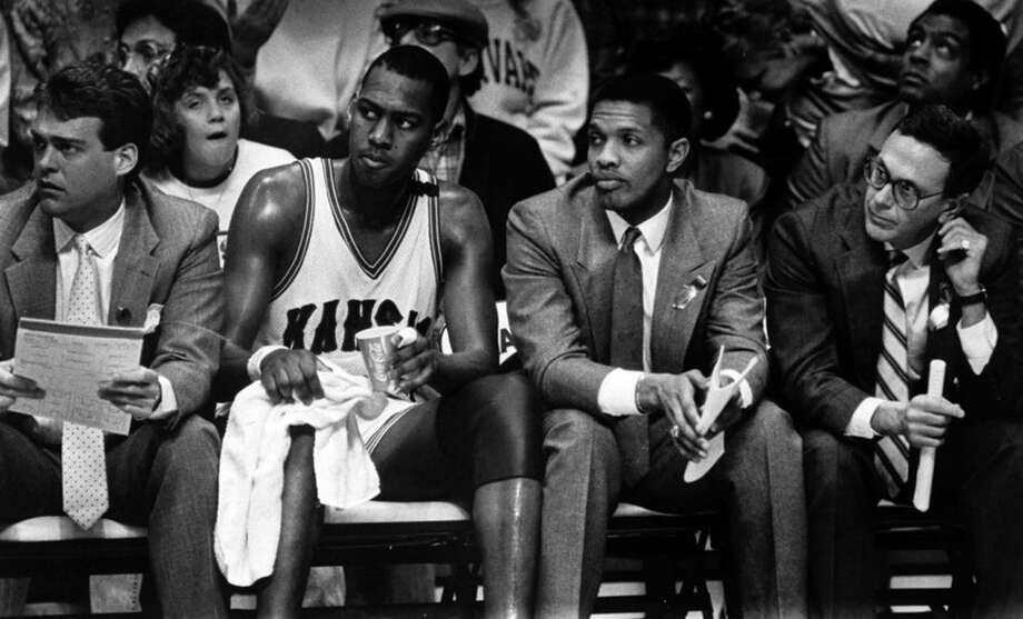 Spurs GM R.C. Buford (left) was a KU assistant under coach Larry Brown (right). Photo: Courtesy Photo