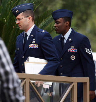 "Staff Sgt. Donald Davis (right) was given the longest ""hard labor"" sentence in the Air Force sex scandal: three months, the most allowed by law. Photo: San Antonio Express-News File Photo"