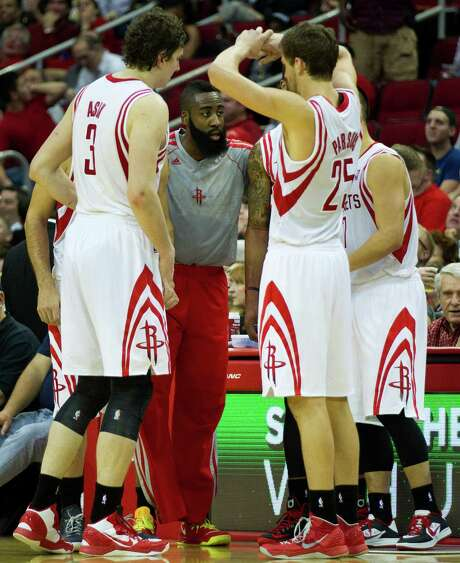 The Rockets are the youngest NBA team, but 23-year-old James Harden, center, and Co. have handled their growing pains well. Photo: Brett Coomer, Staff / © 2013 Houston Chronicle