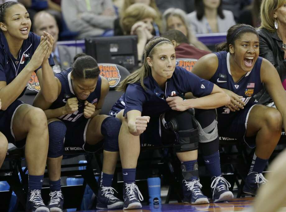 Connecticut bench reacts in the second half of the women's NCAA Final Four college basketball tournament semifinal against Notre Dame, Sunday, April 7, 2013, in New Orleans. UConn won 83-65. (AP Photo/Dave Martin)