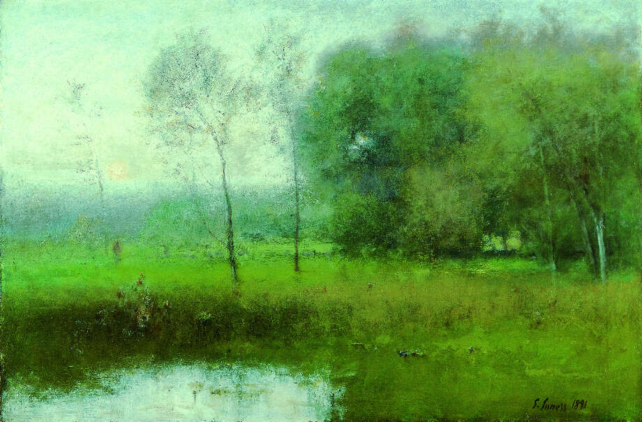 Summer, Montclair (New Jersey Landscape), 1891, by George Inness Oil on canvas, 30 1/4 x 45 in. (76.8 x 114.3 cm) Collection of Mr. & Mrs. Frank Martucci Photo: Krause & Johansen
