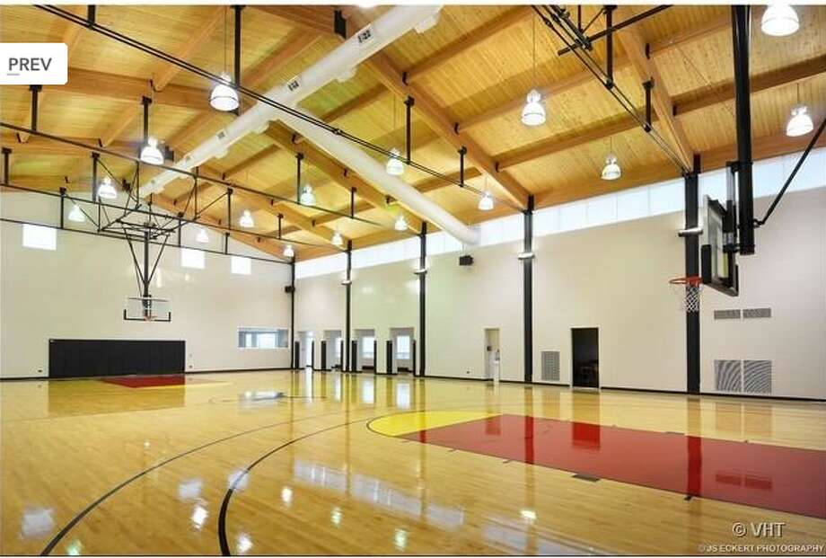The gym, custom designed by Michael Jordan, contains a regulation-sized basketball court.