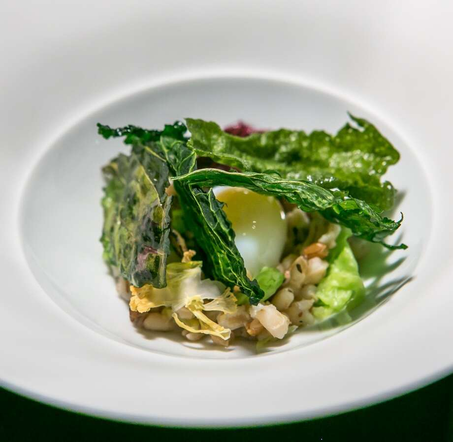 Brassicas, grilled grains, wild seaweed bouillon at Saison.