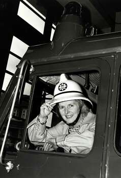 Conservative Party leader Margaret Thatcher pictured during a visit to Finchley Fire Station in 1976. Photo: Popperfoto, File / Popperfoto