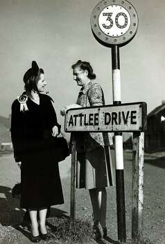 Margaret Thatcher, the youngest Conservative candidate for the General Election at 26, pictured canvassing Mrs Rossiter on Attlee Drive, Dartford in 1951. Photo: Popperfoto, File / Popperfoto