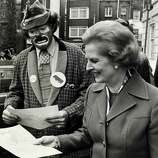 Conservative Party leader Margaret Thatcher on the campaign trail during the General Election campaign, Margaret Thatcher, English Conservative politician, who in 1979 became the first woman to be Prime Minister of Great Britain.