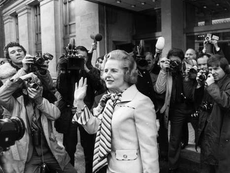 British Conservative leader, Margaret Thatcher, faces the press outside London's Europa Hotel, after her victory in the leadership election in 1975. Photo: Frank Barratt, File / Hulton Archive
